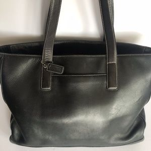 Coach Large Zip-Top Black Leather Tote Bag